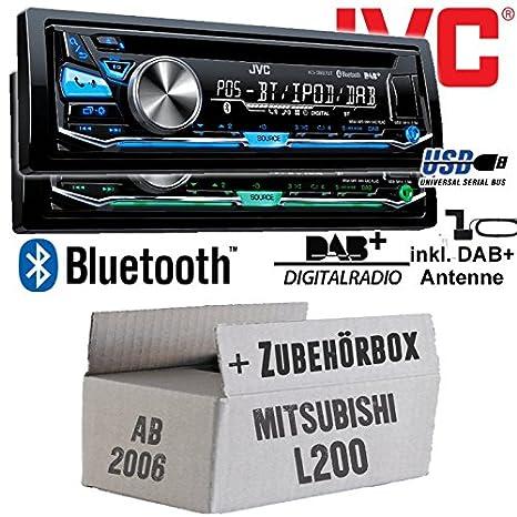 Mitsubishi L200 ab 2006 - JVC KD-DB97BT - DAB+ Digitalradio | Bluetooth | USB | Autoradio inkl. DAB+ Antenne - Einbauset
