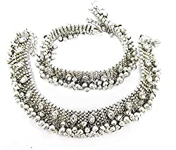 Charms Antique Silver Alloy Kundan Anklet For Women & Girls
