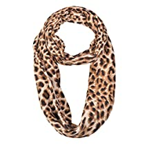 Double Layer Leopard Animal Print Infinity Scarf Brown Color