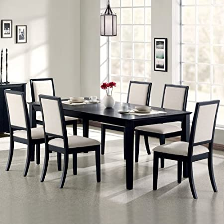 Coaster Lexton 7 Piece Rectangular Dining Set, Black