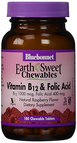 Bluebonnet Earth Sweet Vitamin B-12 And Folic Acid Chewable Tablets, Raspberry, 180 Count