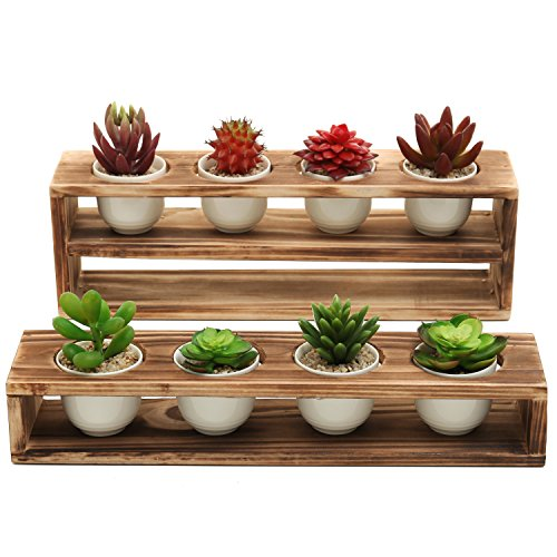MyGift Set of 2 Rustic Planter Boxes w/ 8 Mini Ceramic Succulent Plant Pots, Brown