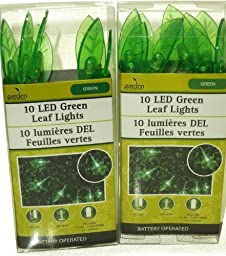 10 LED Green Leaf String Lights 2 Packs by Greenbrier