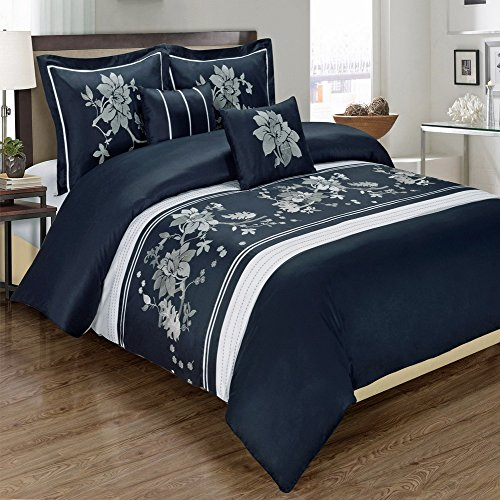 Myra Navy 5-Piece Duvet Cover Set Embroidered 100% Cotton King/ Calking Size front-918888