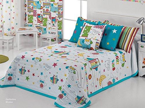 Textilhome - Colcha Bouti PAJARITO color Azul cama 105 cm