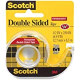 3M Double-Sided Tape with Dispenser, Permanent, 1/2 X 250 Inches, Clear, 2-count
