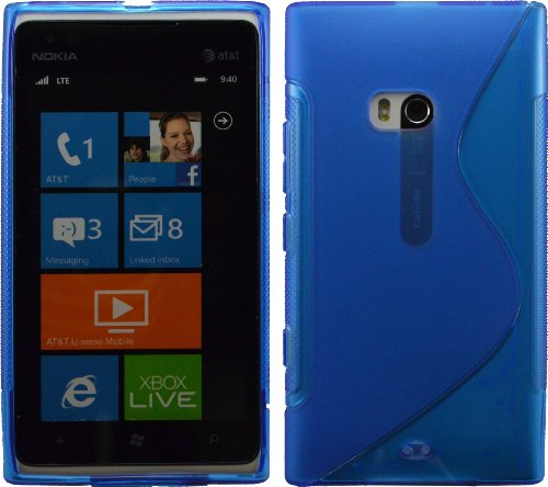 Blue S-Line Flexible Tpu Back Case For Nokia Lumia 900 At&T Crystal Candy