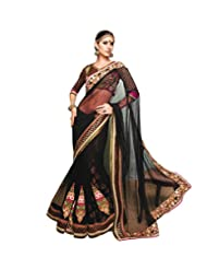 Anvi Creations Black Net Heavy Embroidered Saree (Black_Free Size)