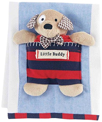 Mud Pie Burp Cloth with Puppy Rattle, Red