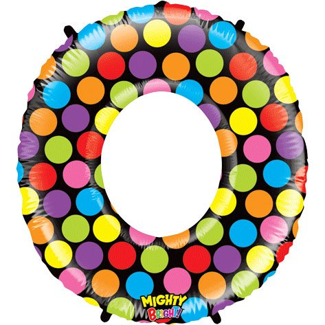 "Number Zero Mighty Bright Polka Dot Megaloon 40"" Mylar Foil Balloon - 1"