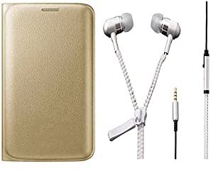 Novo Style Samsung Galaxy S7 Folio PU Leather Case Slim Cover with Stand+ Zipper Earphones/Hands free With Mic 3.5mm jack