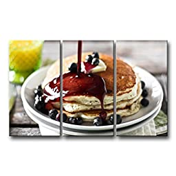So Crazy Art® 3 Panel Wall Art Painting Bread Juice Delicious Breakfast Pictures Prints On Canvas Food The Picture Decor Oil For Home Modern Decoration Print