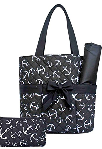 Anchor Nautical 3 Pc Diaper Tote Bag Set w/ Changing Pad Black - 1
