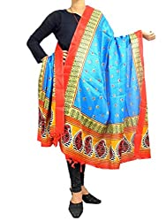 GiftPiper Art Silk Block Printed Dupatta-Multicolored 2