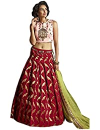 Designer Beautiful Maroon Banglory SilkEmbroidery Work Semi-Stitched Lahenga Choli