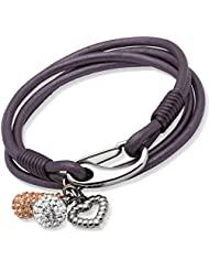 Unique Jewels 19cm Berry Leather Bracelet with Steel Shrimp Clasp and Crystal Ball, Rose Crystal Drop and  Heart...