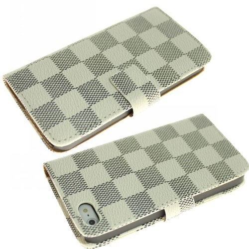 Queens® Luxury Brand Designer Classic Plaid Deluxe Checker Pattern Leather Case Wallet Flip Cover With Card Slot&Strap For Apple Iphone6 4.7 Inch And Clearly Screen Protector (1-White)