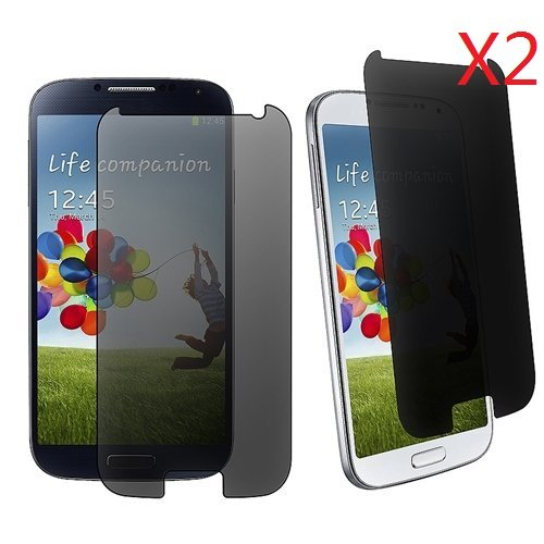 EVERMARKET Premium Privacy Anti-spy Tempered Glass 9H-Hardness Screen Protector Flim for Samsung Galaxy S4 I9500 - 2 Packs