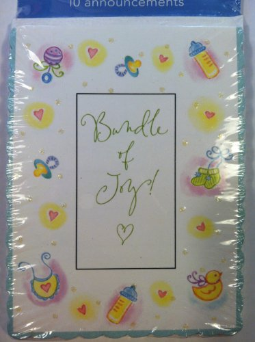 Bundle of Joy Glitter Embellished Announcement Cards 10 Count - 1