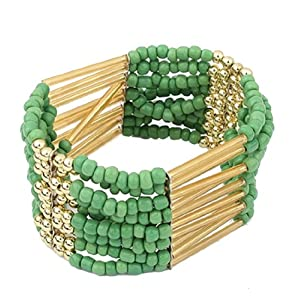 Bohemian Beaded Bracelet Bangle Multilayer Women Fashion Jewelry (Green)