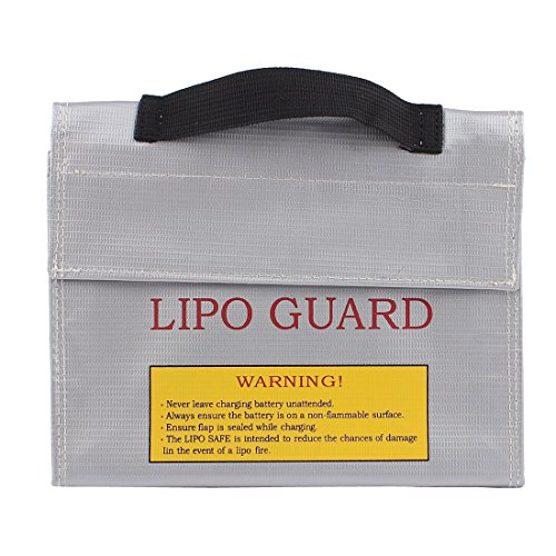 Fireproof Explosionproof Battery Lipo Safe Bag Pouch Sack for Charge & Storage 155*50*155mm Silver