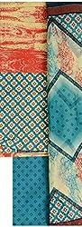 NAVRANG Women's Cotton Dress Material (NDT04, Blue)