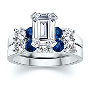 3.51 ct Emerald Diamond W Round Blue Sapphire Ring Set