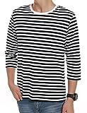 ボーダーTシャツ (クーファンディ)Coofandy マリンボーダーTシャツ メンズ レディース 七分袖 丸首 春秋 綿 カジュアル シンプル 通学 普段着 ボーダー系定番 コーデ 赤(クリスマス)黒 ブルー 着回し 男女兼用 カップル