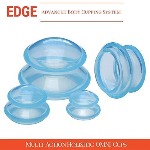 Cupping Massage Kit - the Most Recommended Therapy Set for Muscle Soreness, Pain Relief, Injury Recovery, Toning & Cellulite - Best Quality Professional Medical Grade - 4 Cups, Blue