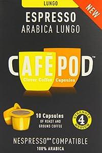 CafePod Nespresso Compatible Arabica Lungo Capsules (Pack of 4, Total 40 Pods)