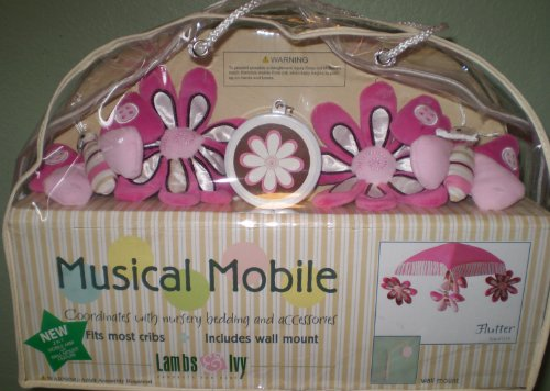 Lambs & Ivy PINK FLUTTER Musical Mobile - 1