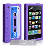 Purple Blue And White Retro Cassette Tape Silicone Gel Case Cover For The Apple iPhone 3 / 3G / 3GS With Screen Protector Filmby Yousave Accessories