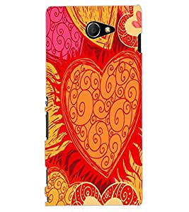 ColourCraft Beautiful Heart Pattern Design Back Case Cover for SONY XPERIA M2 DUAL D2302