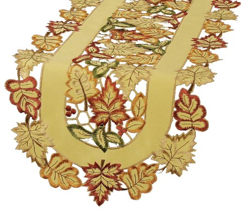 Xia Home Fashions Bountiful Leaf Embroidered Cutwork Table Runner, 15 By 54-Inch front-207363