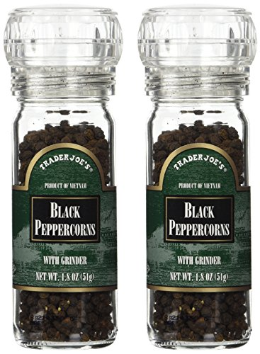 Trader Joe's Black Pepper Peppercorns with Grinder -- 2-PACK, 1.8oz