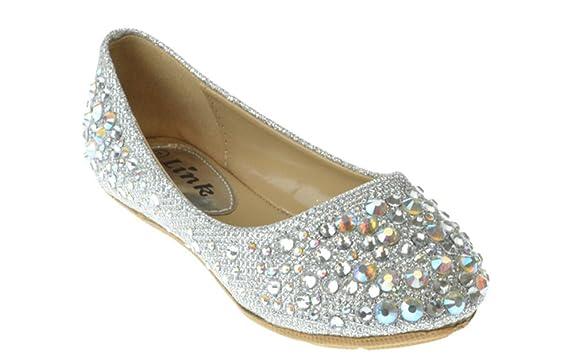 Link-Girls-Larisa-39K-Rhinestone-Ballet-Ballerina-Flats-Shoes-Silver