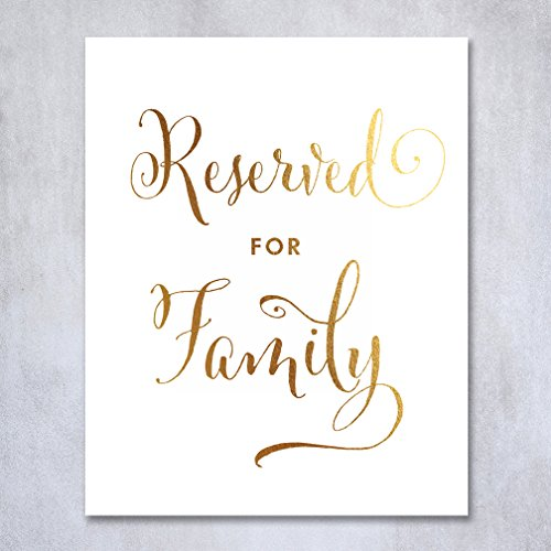 Reserved for Family Gold Foil Sign Wedding Reception Signage Ceremony Seating Table Escort ViP Mother Father Bride Groom