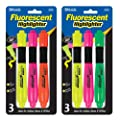 Bazic Desk Style Fluorescent Highlighters with Cushion Grip, 3 per Pack (Case of 24)