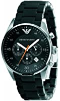 Emporio armani gents sport watch with black silicone wrapped strap and black dial