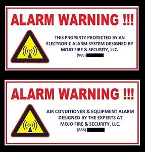 Home & Air Conditioner Burglar Alarm Stickers (10 Piece Variety Pack)
