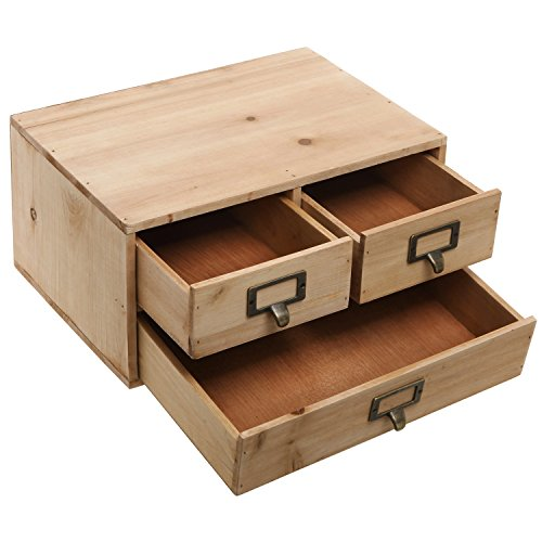 Small natural wood office storage cabinet jewelry