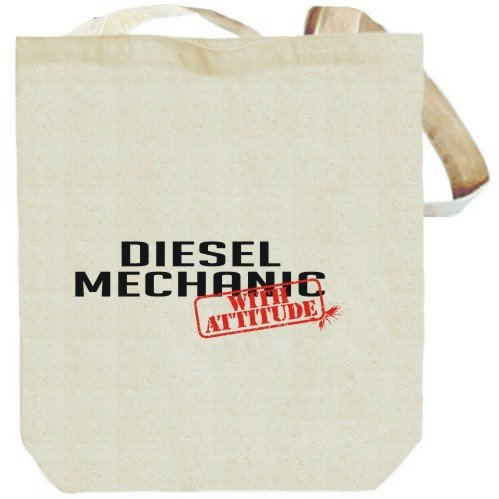 Diesel Mechanic WITH ATTITUDE Beige Canvas Tote Bag Unisex