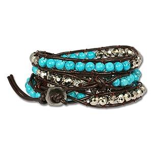 SilberDream Bracelet de cuir avec des pierres turquoises et d'autres éléments décoratifs Couleur brun, réglables pour les femme LA3191T