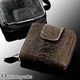 オーストリッチレッグ 二つ折り財布(No.3333) COLOR:ブラック