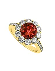 18K Yellow Gold Plated Vermeil January Birthstone Garnet And Cubic Zirconia Halo Engagement Ring