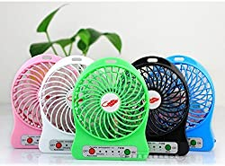 Powerful Portable Wireless Rechargeable Mini USB Table Fan Micro USB Charging Port (Like Mobile) 2200 mAh Lithium-ion Battery Inside 3 Speed Compact Cool Premium Quality Durable Best for Desktop Use Lamp Gadget (Multicolor)
