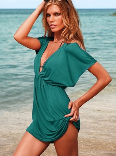 Women Sexy Deep V Neck Beach Swimwear Bikini Stretchy Cover up Shirt Dress Peacock Blue