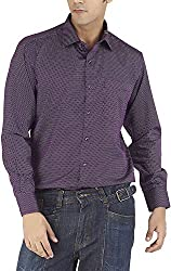 Silkina Men's Regular Fit Shirt (VPOI1509FBG, Burgundy Print, 38)