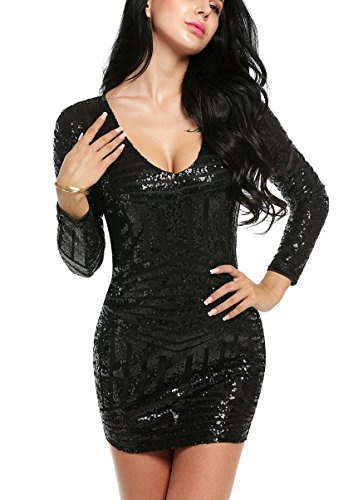 ACEVOU Women's V Neck Long Sleeve Sequined Cocktail Mini Dress Party Clubwear evening Dress (Large, Black)