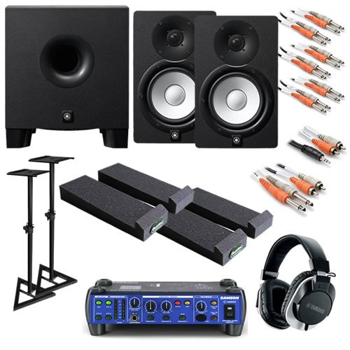 Yamaha Hs7 Ultimate Bundle W/ Monitor Controller, Subwoofer, Stands, Studio Headphones & Cables